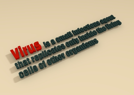 virus organism: virus organism description dictionary text. 3D typing.