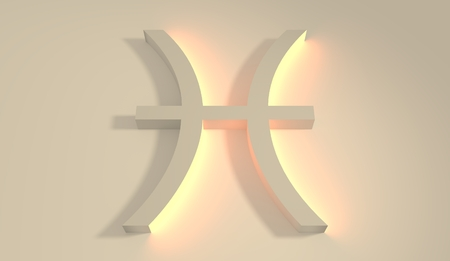 neon fish: Abstract 3D zodiac sign Pisces, The Fish. Neon backlight Stock Photo
