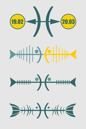 abstract zodiac: Abstract zodiac sign Pisces -The Fish. Unusual design. Icons set Illustration