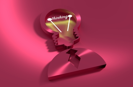 Lamp head businessman 3d icon. Illustration of brainwork, idea appearance. Switch on bulb icon with thinking text