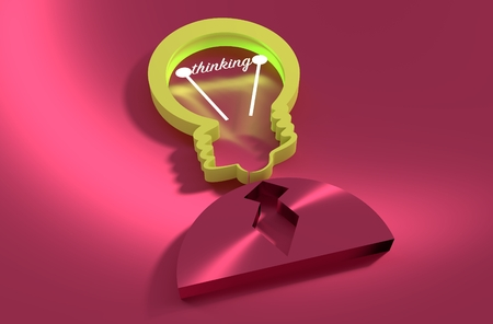 appearance: Lamp head businessman 3d icon. Illustration of brainwork, idea appearance. Switch on bulb icon with thinking text