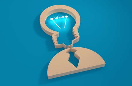Lamp head businessman 3d icon. Illustration of brainwork, idea appearance. Switch on bulb icon with idea text