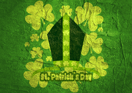 mitre: St. Patricks Day greeting card template. Bishop mitre with shamrock. Concrete textured Stock Photo