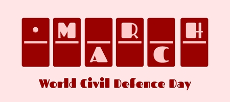 defence: Calendar Date - March 1st . Done in domino bones design. World Civil Defence Day greeting card template Illustration