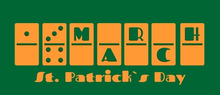 17 of march: St. Patricks Day greeting card template. 17 march text on domino bones. Vector illustration Illustration