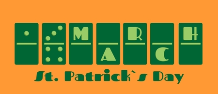 17 march: St. Patricks Day greeting card template. 17 march text on domino bones. Vector illustration Illustration