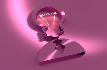 business education: Lamp head businessman 3d icon. Illustration of brainwork, idea appearance. Switch on bulb icon with glowing cog wheels