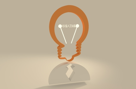 appearance: Lamp head businessman 3d icon. Illustration of brainwork, idea appearance. Switch on bulb icon with creative text