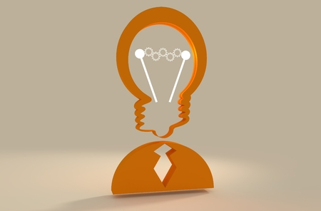 appearance: Lamp head businessman 3d icon. Illustration of brainwork, idea appearance. Switch on bulb icon with glowing cog wheels