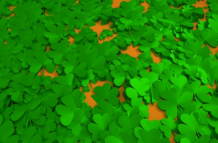 patricks: St. Patricks Day greeting card template. Shamrock 3d background Stock Photo