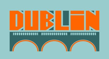 irish landscape: Dublin city name and bridge silhouette. Vector illustration