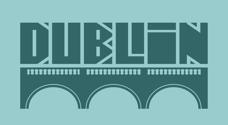 ligature: Dublin city name and bridge silhouette. Vector illustration