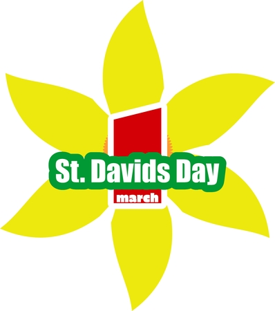 national holiday: St Davids Day  greeting card template. Wales national holiday. Narsicuss flower and text.