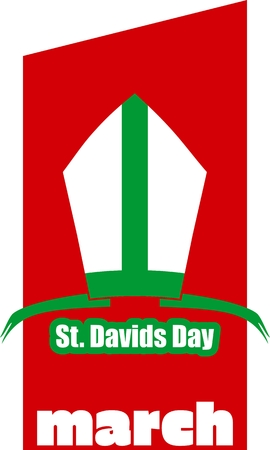 national holiday: St Davids Day  greeting card template. Wales national holiday. Catholic hat tiara. March, 1st