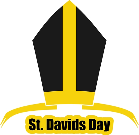 national holiday: St Davids Day  greeting card template. Wales national holiday. Catholic hat tiara. Illustration