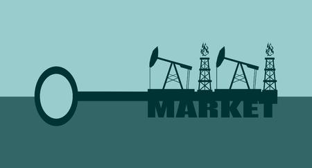 oil and gas industry: Key with market word and mining equipment icons, vector concept. Oil and gas industry relative metaphor