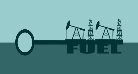 oil and gas industry: Key with fuel word and mining equipment icons, vector concept. Oil and gas industry relative metaphor