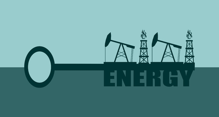 oil and gas industry: Key with energy  word and mining equipment icons, vector concept. Oil and gas industry relative metaphor