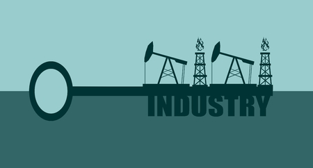 oil and gas industry: Key with industry word and mining equipment icons, vector concept. Oil and gas industry relative metaphor