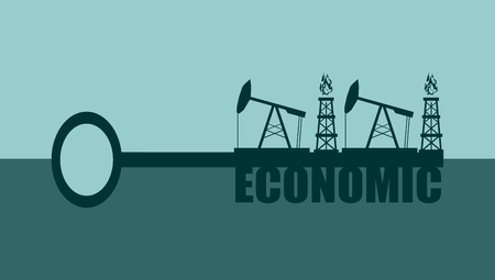 oil and gas industry: Key with economic word and mining equipment icons, vector concept. Oil and gas industry relative metaphor