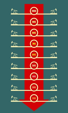 fall down: Abstract oil price list, vector concept. Oil and gas industry relative metaphor. Oil pumps icons. Red fall down arrow