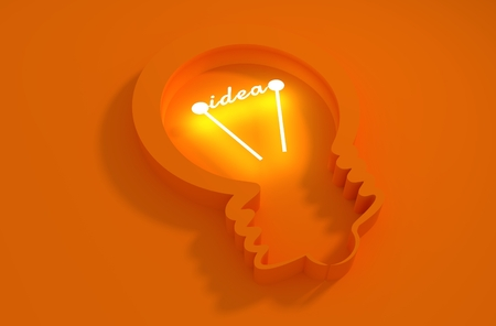 appearance: lamp 3d outline icon. Illustration of brainwork, idea appearance. Switch on bulb icon with idea text Stock Photo