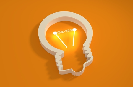appearance: lamp 3d outline icon. Illustration of brainwork, idea appearance. Switch on bulb icon with creative text
