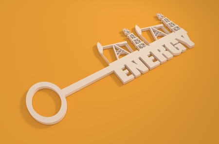 gas industry: Key with energy word and mining equipment icons. Oil and gas industry relative metaphor