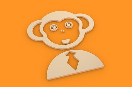 monkey suit: Businessman torso in suit 3d icon. Ape head instead human Stock Photo