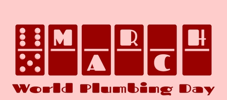 number 11: Calendar Date - March, 11. Done in domino bones design. World plumbing day