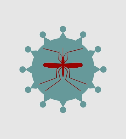 malaria: Mosquito and virus. Simple icons that illustration of many disease transmission such as dengue fever, zika disease, yellow fever, chikungunya disease, filariasis, malaria , enchaphalitits and else.