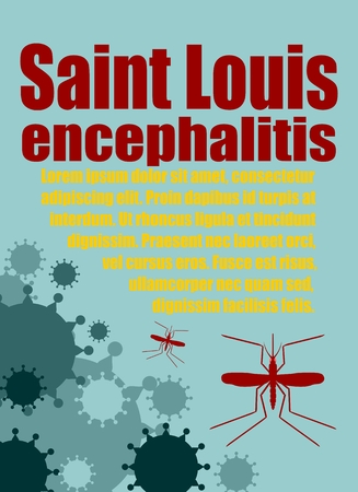 encephalitis: Modern vector brochure, report or flyer design template. Medical industry, biotechnology and biochemistry. Scientific medical designs.  Mosquito transmission diseases. Saint Louis encephalitis Illustration