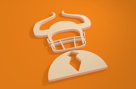 hellish: Businessman 3d icon. Devils horn on american football helmet. Business metaphor