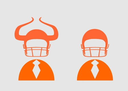 hellish: Businessman 3d icon. Devils horn on american football helmet. Business metaphor. Diversity between two characters