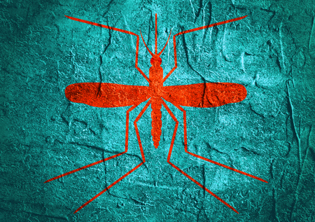 medical symbol: Virus diseases transmitter. Mosquito silhouette. Concrete textured surface Stock Photo