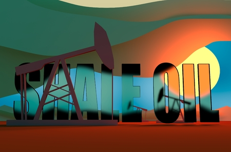 sun down: Oil pumps in sun down. Energy and power relative backdrop. Transparent glass shale oil text. Economic breaking news background
