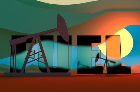 sun down: Oil pumps in sun down. Energy and power relative backdrop. Transparent glass fuel text. Economic breaking news background