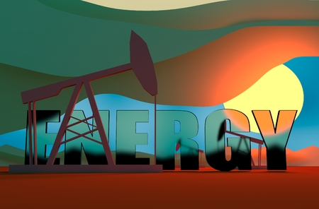 breaking down: Oil pumps in sun down. Energy and power relative backdrop. Transparent glass energy text. Economic breaking news background Stock Photo