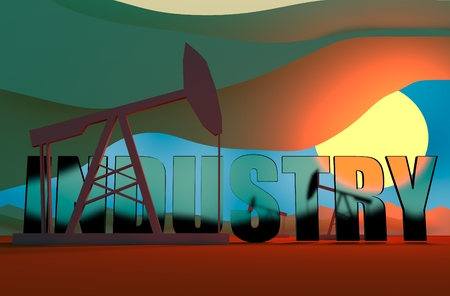 breaking down: Oil pumps in sun down. Energy and power relative backdrop. Transparent glass industry text. Economic breaking news background Stock Photo