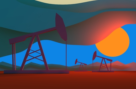 sun down: Oil pumps in sun down. Energy and power relative backdrop.