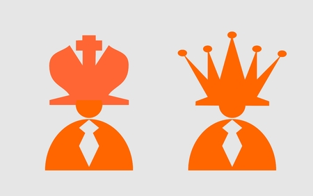 king master: Business king and queen. Businessmans with hat as chess king and queen. Man leader, success  boss, human ego. Vector illustration