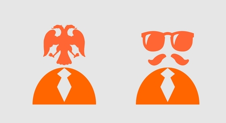 torso: Businessman torso in suit 3d icon. Sunglasses and mustache. Double eagle head