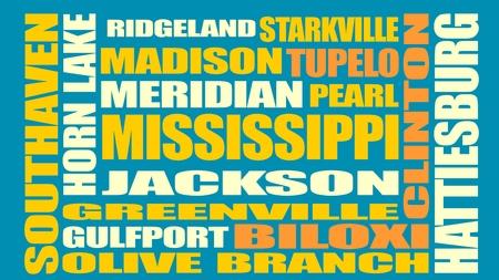 places: Image relative to USA travel. Mississippi cities and places names cloudImage relative to USA travel. Louisiana cities and places names cloud Illustration
