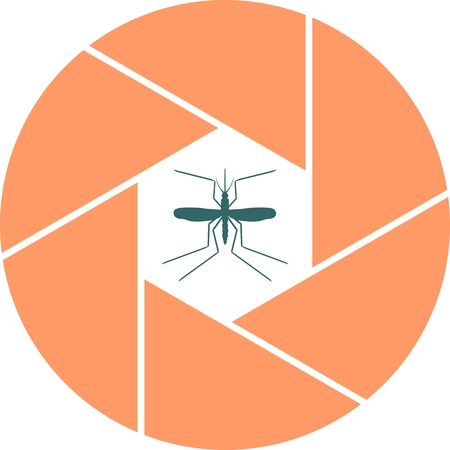 abstract aperture: Mosquito in abstract aperture. Simple icons that illustration of many disease transmitter - mosquito.