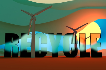recycle glass: Wind Turbine landscape illustration. Renewable energy development relative theme. Recycle glass transparent text Stock Photo