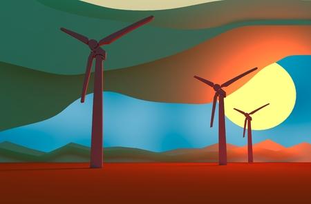 relative: Wind Turbine landscape illustration. Renewable energy development relative theme
