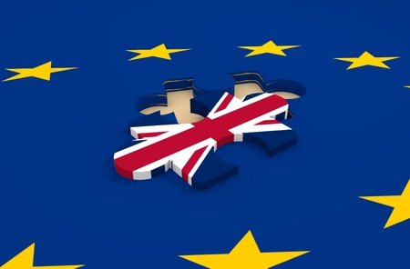 Imabe relative to politic situation between great britain and european union. Politic process named as brexit Stock Photo