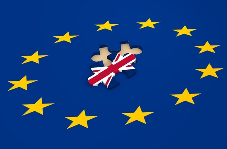 Imabe relative to politic situation between great britain and european union. Politic process named as brexit 免版税图像