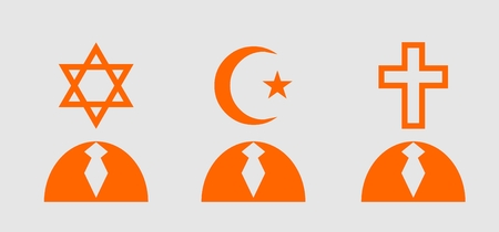religious tolerance: Religious icons as humans head. Ancient sings and symbols. Tolerance relative illustration