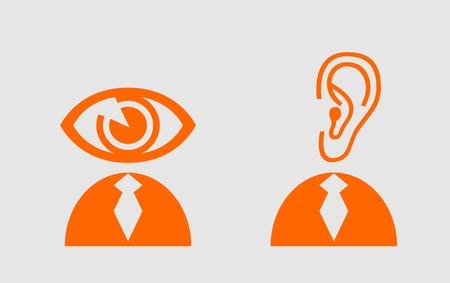 Ojo y el oído como cabeza humana. Ilustración de la metáfora de la atención. proces de educación abstracción